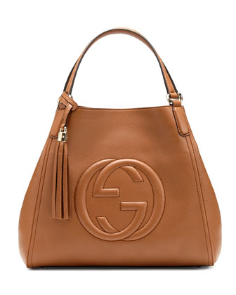Soho Medium Leather Shoulder Bag, Dusty Blush Cognac