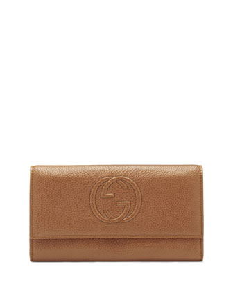 Soho Continental Leather Wallet, Blush Cognac