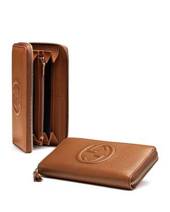 Soho Leather Zip-Around Wallet, Blush Cognac
