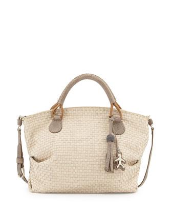 Agnes Medium Woven Satchel Bag, Cream