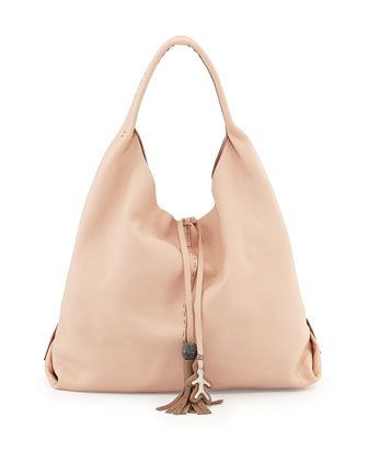 Draped Soft Leather Hobo Bag, Cream