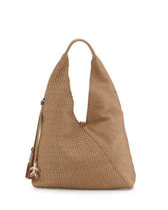 Canotta Woven Leather Hobo Bag, Dark Taupe