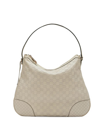 Bree Guccissima Leather Hobo Bag, Mystic White