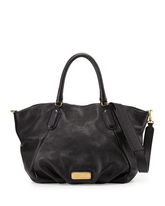 New Q Fran Leather Tote Bag, Black
