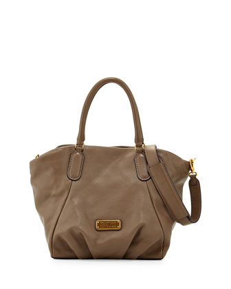 New Q Fran Leather Tote Bag, Puma Taupe