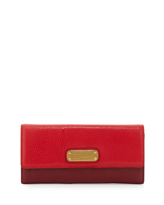 New Q Continental Wallet, Rosey Red Multi
