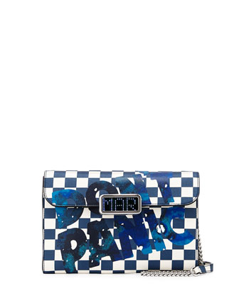 Pegg Don't Panic Checkered LED-Clasp Crossbody Bag