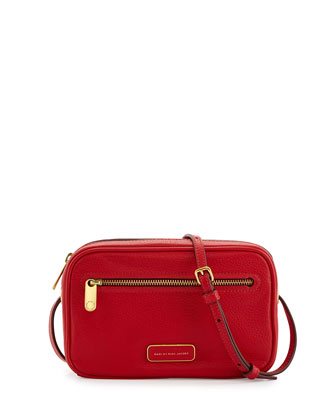 Sally Pebbled Leather Crossbody Bag, Rosey Red