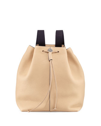 Backpack 10 Leather Hobo Bag, Beige