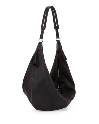 Sling 15 Grained Calfskin Hobo Bag, Black