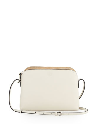 Multi-Pouch Calfskin Crossbody Bag, Ivory/Beige