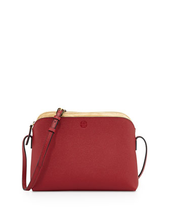 Multi-Pouch Calfskin Crossbody Bag, Red/Beige