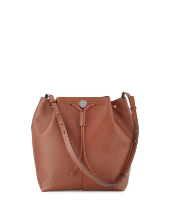 Bucket 10 Grained Calfskin Bag, Chestnut