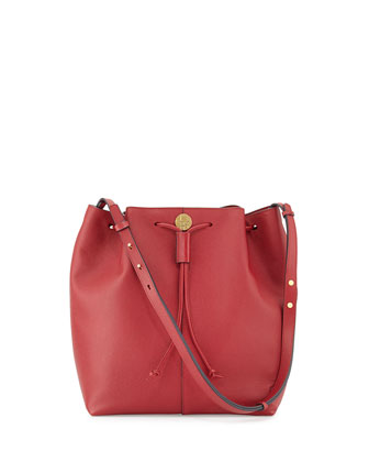 Bucket 10 Grained Calfskin Bag, Red