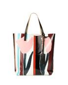 Tulip-Print PVC Shopping Bag, Multi
