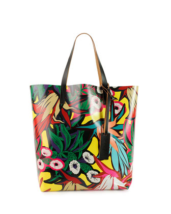 Floral-Print PVC Shopping Bag, Multi