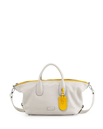 Legend Medium Zip Satchel Bag, Bone Multi