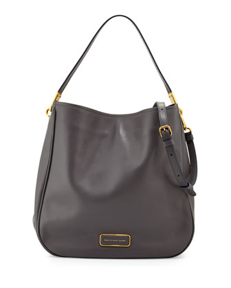 Ligero Leather Hobo Bag, Gunmetal