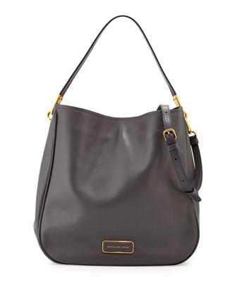 Ligero Leather Hobo Bag, Gunmetal