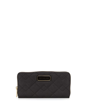 Sophisticato Quilted Slim Zip Wallet, Black
