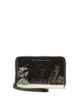Space Techno Wingman Lenticular-Print Smartphone Wristlet, Black