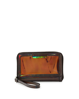 Crystal Clear Wingman Wristlet Wallet, Gunmetal