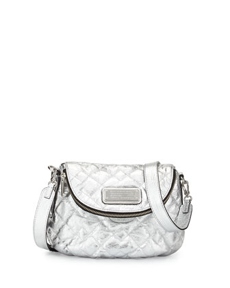 New Q Natasha Quilted Crossbody Bag, Silver