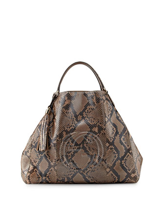 Soho Large Python A-Shape Tote Bag, Pearl Gold Pink