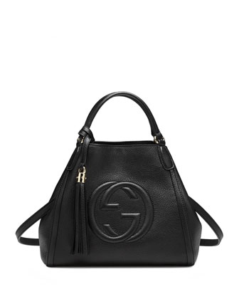 Soho Leather Shoulder Bag, Nero