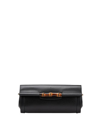 Bamboo Leather Clutch Bag, Nero