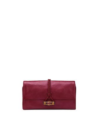 Hip Bamboo Leather Clutch Bag, Raspberry Dark Red