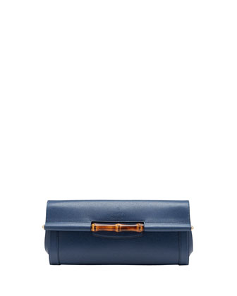 Bamboo Leather Clutch Bag, Uniform Blue
