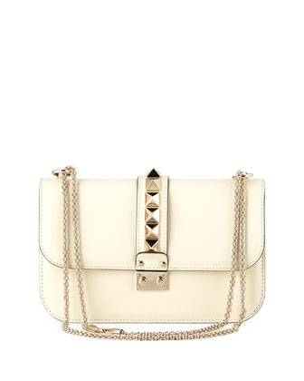 Medium Rockstud Lock Bag, Ivory