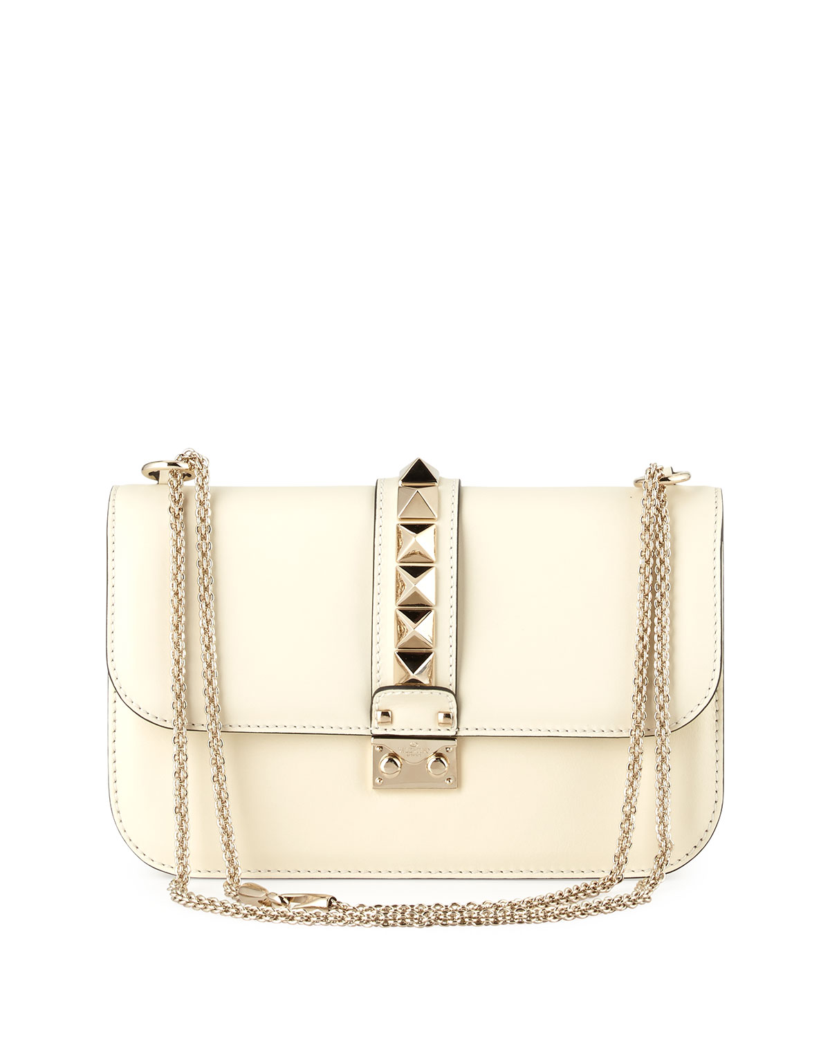 Medium Rockstud Lock Bag, Ivory, Size: M - Valentino