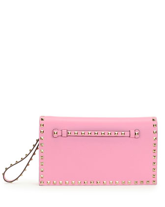 Rockstud Flap Wristlet Clutch Bag, Pink