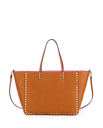 Rockstud Reversible Tote, Brown/Pink