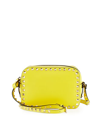 Rockstud Camera Crossbody Bag, Yellow