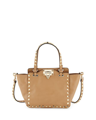 Rockstud Micro Mini Leather Tote, Taupe