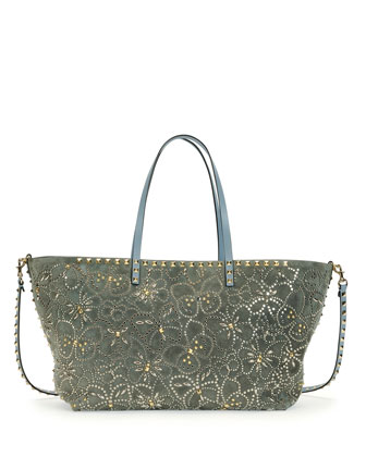 Rockstud Suede Butterfly Tote Bag, Gray