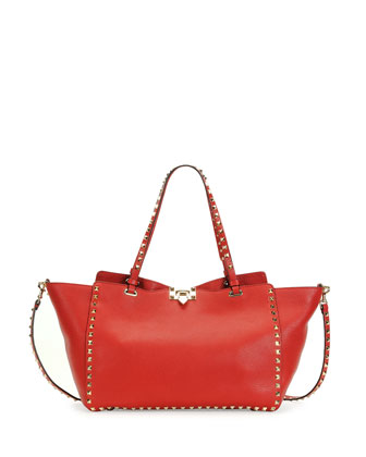 Rockstud Medium Grained Tote Bag, Red
