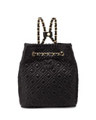 Marion Small Quilted Backpack, Black