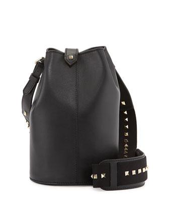 Rockstud Leather Bucket Bag, Black