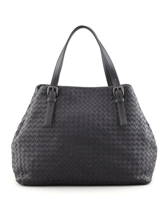 Large Double-Strap A-Shape Tote Bag, Dark Gray