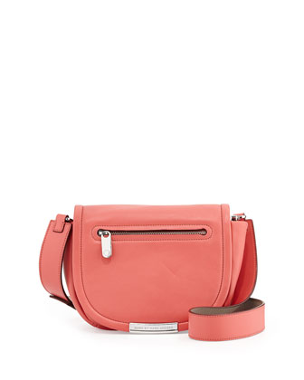 Luna Leather Saddle Crossbody Bag, Rose Bush