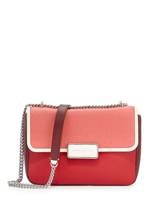 Rebel 24 Ostrich-Print Flap Bag, Rose Bush Multi