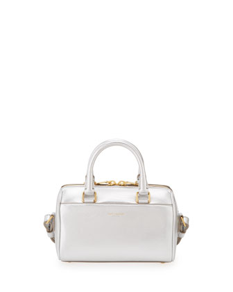 Metallic Duffel Toy Saint Laurent Bag, Argento