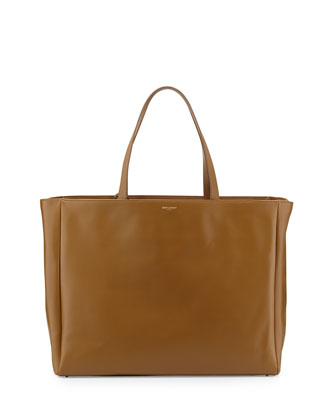 Reversible Calfskin Shopping Tote Bag, Dark Camel