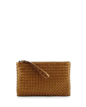 Extra-Large Cosmetic Wristlet Bag, Bronze Gold