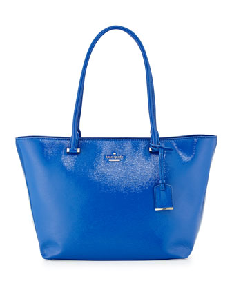 cedar street small patent handbag, orbit blue