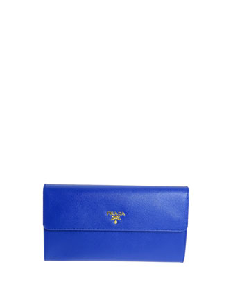 Extra-Large Saffiano Travel Wallet, Blue (Royal)